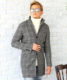 LUXSTYLE/イタリアンカラーグレンチェックコート/コート メンズ グレンチェック イタリアンカラー/502595535
