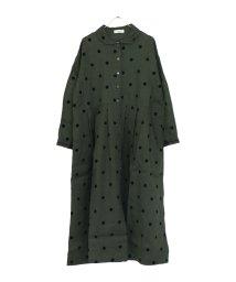 tukuroi by SUN VALLEY/平織ラミーフロッキードット丸衿シャツワンピース /502597842