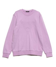 GUESS/ゲス GUESS EMBOSS TRIANGLE LOGO CREW SWEAT (LAVENDER)/502599294
