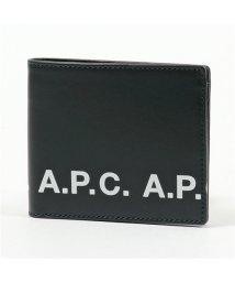 A.P.C./PXAWV H63238 AAB/BLANC portefeuille aly logo レザー 二つ折り財布 小銭入れなし メンズ/502597145