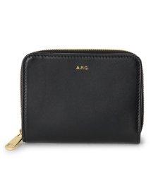 A.P.C./APC PXAQG F63029 LZZ レザー ラウンドジップ 二つ折り ミディアム財布 ミニ財布 NOIR レディース/502597379
