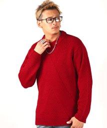 LUXSTYLE/バイアス編みクルーネックニットセーター/ニット メンズ セーター バイアス 編み/502600421