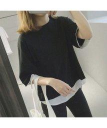 AMOUR BOX/アムールボックス AMOUR BOX Tシャツ カットソー フェイクレイヤード  重ね着風シンプルゆったりカットソー (ブラック)/502605704