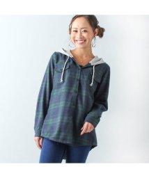 JUNOAH/ジュノア JUNOAH レイヤード風フード付きチェックシャツ (グリーン)/502607574