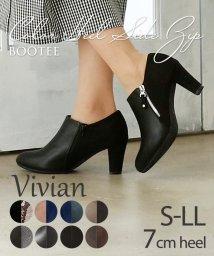 Vivian/カラーヒールサイドファスナーブーティー/502609590