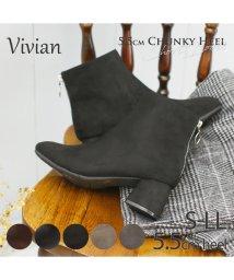 Vivian/5.5cmチャンキーヒール踵ファスナーショートブーツ/502609591