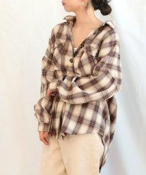 ANDJ/オンブレチェック柄オーバーサイズシャツ/502609655