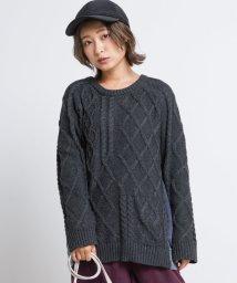 DOUBLE NAME/裏毛デニム切替クレイジーニットプルオーバー/502610950