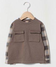 petit main/裏毛胸ポケットつきチェック切り替えTシャツ/502585471