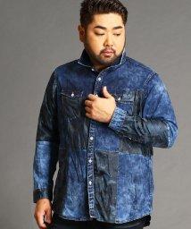 HIDEAWAYS NICOLE L/<大きいサイズ>異素材切り替えシャツ/502577973