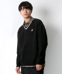 LAZAR/【19AW】新作 KANGOL/カンゴール ビッグシルエット チルデンニット Vネック衿リブラインセーター/502603231