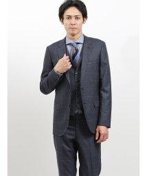 m.f.editorial/ストレッチ光沢ウール混 スリムフィット3ピーススーツ チェックグレー/502613016