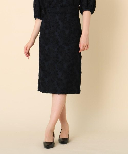 Couture Brooch(クチュールブローチ)/【WEB限定サイズ(LL)あり/手洗い可】カットジャガードミモレ丈スカート/20190250877006
