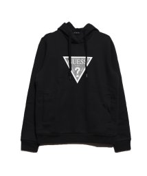 GUESS/ゲス GUESS VELVET TRIANGLE LOGO HOODED PARKA (BLACK)/502623522