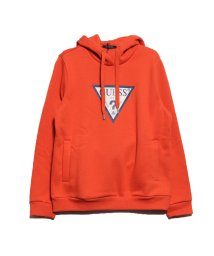 GUESS/ゲス GUESS VELVET TRIANGLE LOGO HOODED PARKA (ORANGE)/502623523