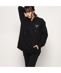 GUESS/ゲス GUESS TRIANGLE LOGO FELT PATCH HOODED PARKA (BLACK)/502623534
