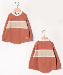 petit main/胸切替ラガー刺しゅうスタンドカラーTシャツ/502600578