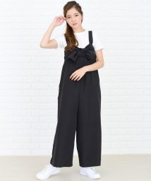 Lace Ladies/リボン付き サロペットワイドパンツ オールインワン・パンツ/502620645