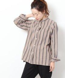 coen/コットンウールリネンバンドカラーシャツ/502623751