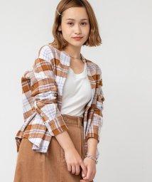 coen/インディアンネルチェックバンドカラーシャツ/502623752