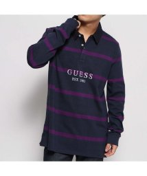 GUESS/ゲス GUESS CODY STRIPE L/S POLO SHIRT (BLUE NAVY AND PURPLE STRIPES)/502625885