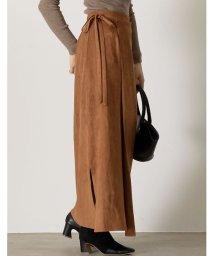 Re:EDIT/たっぷりロング丈で品の良いコーディネートに セミタイトポンチスウェードラップ風マキシスカート スカート/スカート/502629296