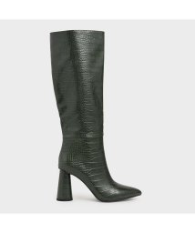 CHARLES & KEITH/ポインテッドクロックエフェクト ニーハイブーツ / Pointed Croc-Effect Knee-High Boots (Green)/502629432