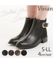Vivian/4cmヒールベルテッドゴアショートブーツ/502630863