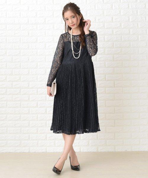 Lace Ladies(レースレディース)/刺繍レースギャザースカート長袖ワンピース・ドレス/PR106