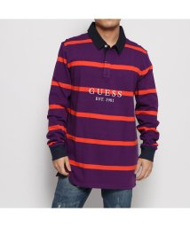 GUESS/ゲス GUESS CODY STRIPE L/S POLO SHIRT (PURPLE LINK AND ORANGE STRIPES)/502632249