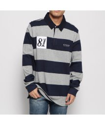 GUESS/ゲス GUESS CODY STRIPE L/S POLO SHIRT (BLUE NAVY AND GREY STRIPES)/502632250
