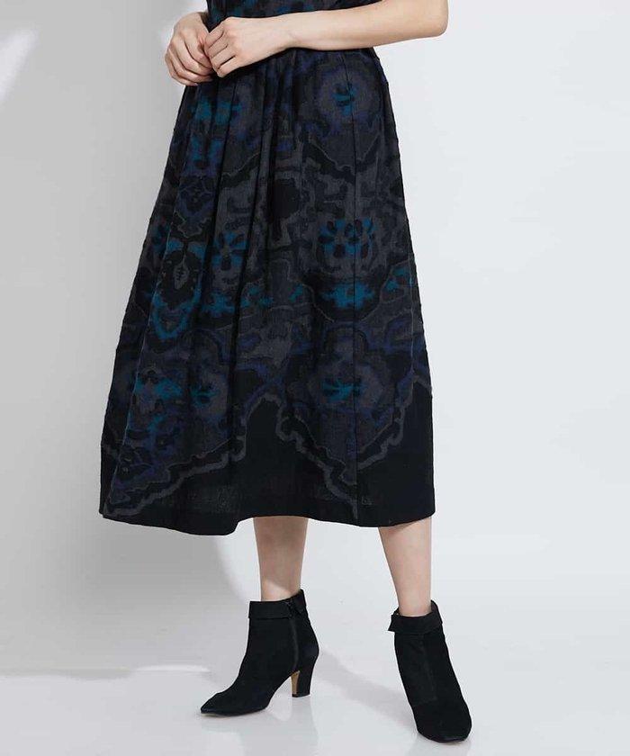 【ウエストゴム】デザインジャカードスカート