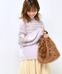 NICE CLAUP OUTLET/【natural couture】フェザー切替ニット/502612920
