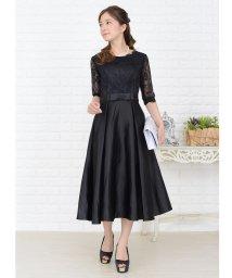 Lace Ladies/ウエストリボン付きサテン風Aラインワンピース・ドレス/502628445