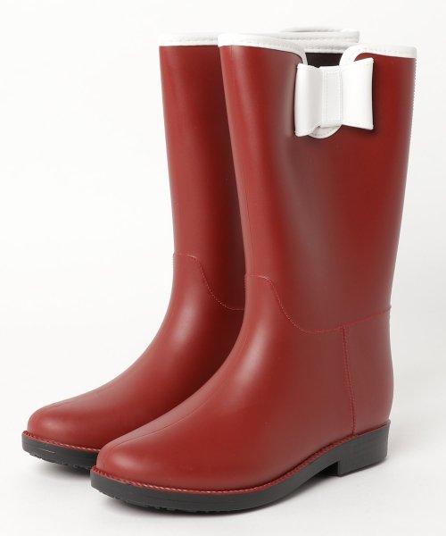 aimoha(aimoha(アイモハ))/バイカラーサイドリボン付きミドル丈レインブーツラバーブーツ レインシューズ ゴム長靴 雨靴 ガーデニングブーツ レディース レインブーツ /qx901a