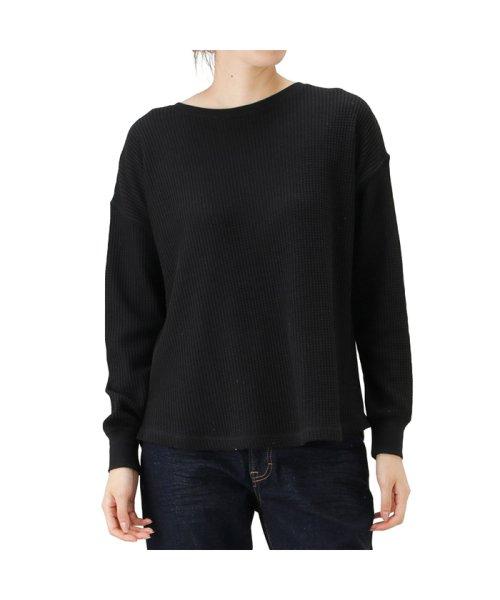 MAC HOUSE(women)(マックハウス(レディース))/Navy ネイビー ワッフル長袖Tシャツ NVCW9101/02221003579