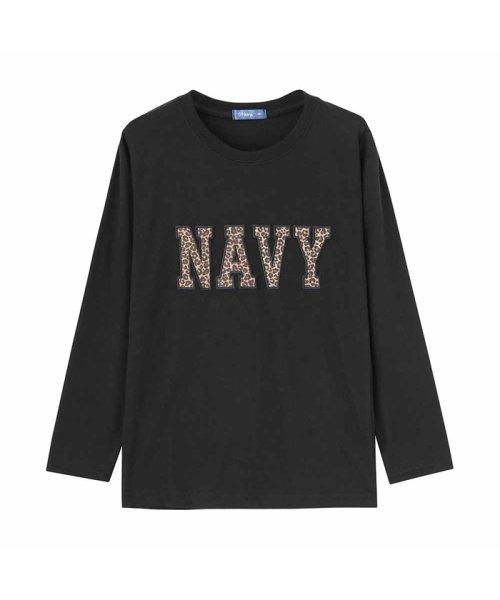 MAC HOUSE(kid's)(マックハウス(キッズ))/Navy ネイビー ボーイズ ワッペンロングスリーブTシャツ EJ195-KB103/03221001619