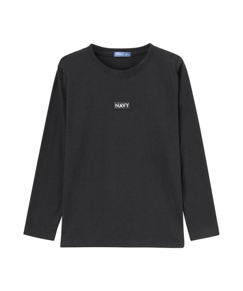 MAC HOUSE(kid's)(マックハウス(キッズ))/Navy ネイビー ボーイズ ボックスロゴロングスリーブTシャツ EJ195-KB104/03221001620