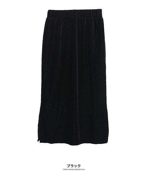 GROWINGRICH(グローウィングリッチ)/[ボトムス スカート]ベロアコーデュロイタイトスカート[190690]しっとりキレイな冬スカート/190690