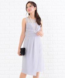 Lace Ladies/胸元レース切り替えラップ風ワンピース・ドレス/502628390