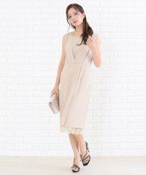 Lace Ladies/パール風ベルト付き裾レースワンピース・ドレス/502628391