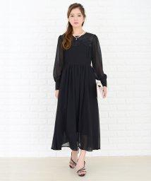Lace Ladies/カフス付袖フラワーモチーフロングワンピース・ドレス/502628471