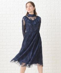 Lace Ladies/ベルスリーブレースミディ丈フレアブラックワンピース・ドレス/502628487