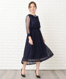 Lace Ladies/ドットチュール袖×花柄総レースフィッシュテールフォーマルワンピース・ドレス/502628513