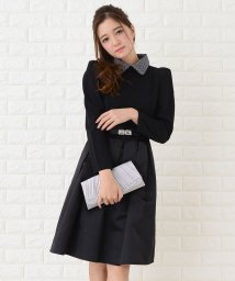 Lace Ladies/ウエストリボンベルト付き丸襟フレアワンピース・ドレス/502628544