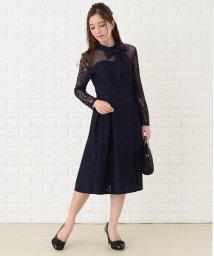 Lace Ladies/2wayリボン付きデコルテシースルーレース袖フレアワンピース・ドレス/502628549