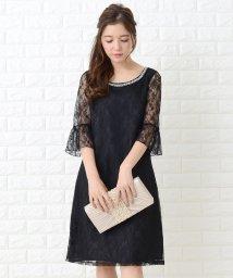 Lace Ladies/レースフレア袖ビジューボートネックワンピース・ドレス/502628557
