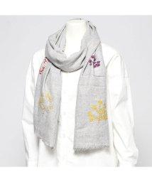 KANKAN/カンカン KANKAN ウールツリー刺繍ショール (ライトグレー)/502650005