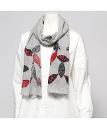 KANKAN/カンカン KANKAN ウールコットンリーフ刺繍ショール (ライトグレー)/502650031