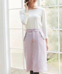tocco closet/ポケットパールビジュー装飾スエードタイトスカート/502647454